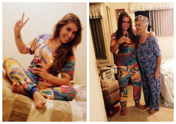 Alex and her grandma rocking some pretty neat onsies