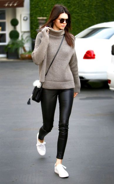 Kendall Jenner in Leather Pants & Cosy Knit