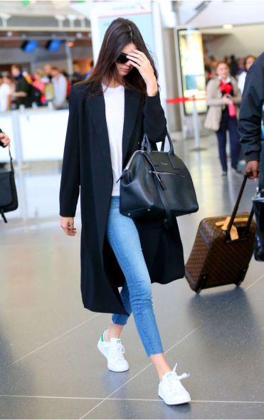 Kendall Jenner in Denim Jeans, White Basic Tee & Black Coat