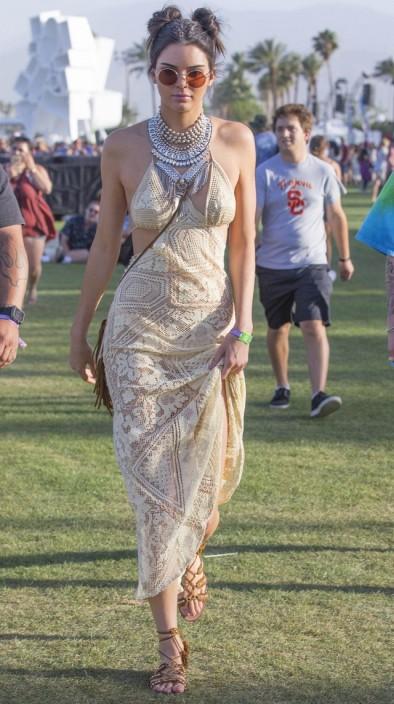 Kendall Jenner in Crochet Cream Dress & Boho Accessories